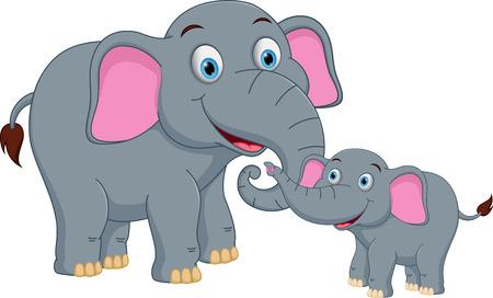 elefante: Elefante de dibujos animados de la familia Vectores