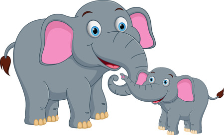 animal fauna: Elephant family cartoon