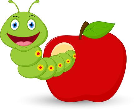 oruga: Historieta linda del gusano en la manzana Vectores