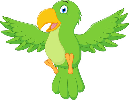macaw parrot: Happy parrot cartoon flying