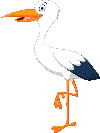 plant stand: Happy stork cartoon Illustration