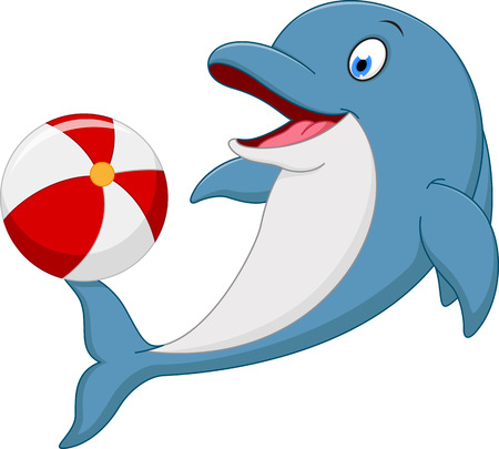 Happy dolphin cartoon playing ball