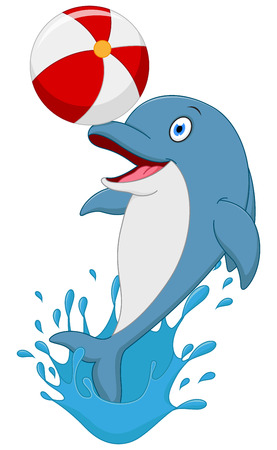 swimming animal: Happy dolphin cartoon playing ball