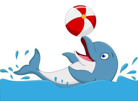 Szczęśliwy delfin kreskówki grać w piłkę Ilustracje wektorowe