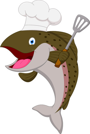 fish meal: Salmon chef fish cartoon Illustration