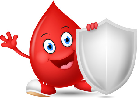 red blood cell: Happy blood cartoon with shield Illustration