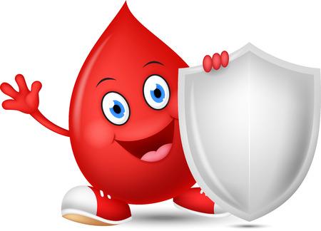 erythrocyte: Happy blood cartoon with shield Illustration