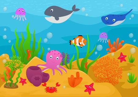 海の生活動物漫画  イラスト・ベクター素材