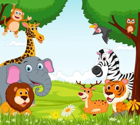 정글에서 동물 만화 일러스트