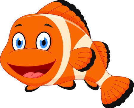 aquatic animal: Cute clown fish cartoon