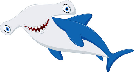 shark teeth: Cute hammerhead shark cartoon Illustration