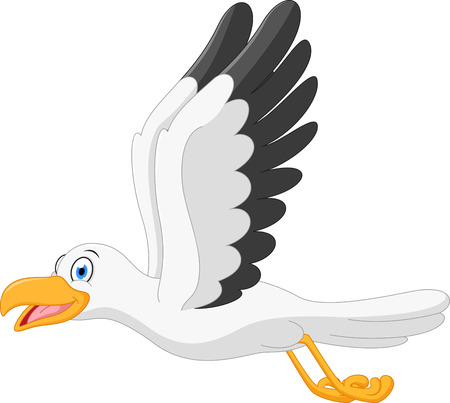 Happy seagull cartoon flying