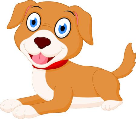 wagging: Cute dog cartoon