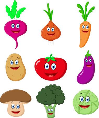 vegetable cartoon: Historieta linda de verduras Vectores