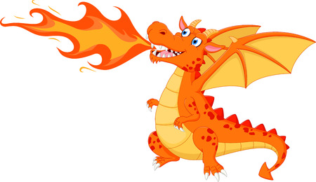 cartoon knight: Angry dragon with fire Illustration