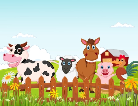 animal tracks: Farm animal cartoon
