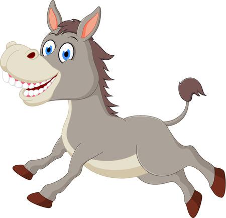 grey horses: Happy donkey cartoon