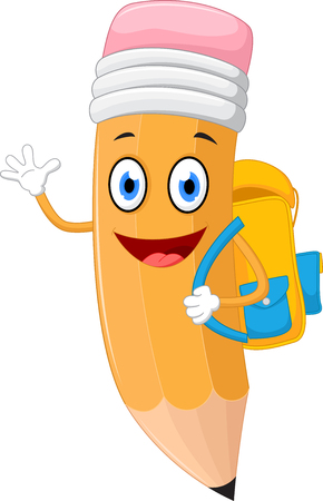 the animated cartoon: Pencils cartoon with school bag Illustration