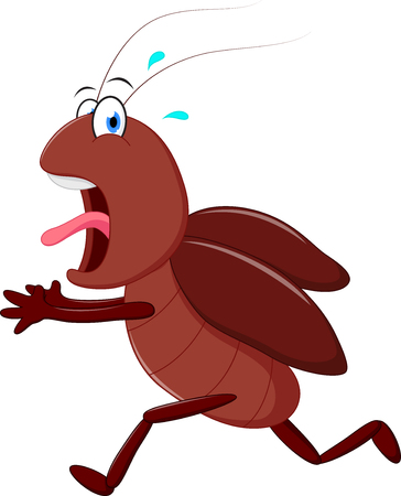 Scary cockroach running cartoon