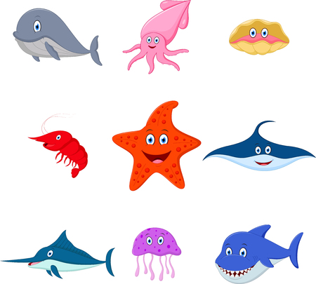 sea animal: sea animal cartoon set