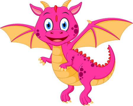 Happy baby dragon cartoon