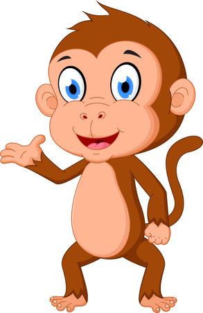 monkey on a tree: Monkey cartoon presenting Illustration