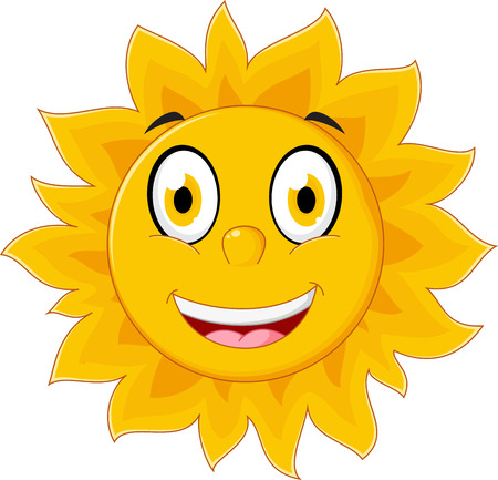 sun flares: Happy sun cartoon character Illustration