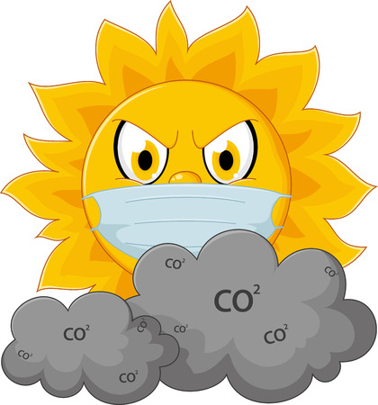 angry sky: Sun cartoon with medical mask
