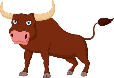 怒っている牛漫画  イラスト・ベクター素材