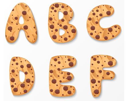 choco chips: Alphabet on cookies design Illustration