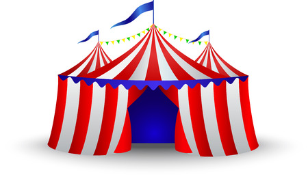 Vintage circus tent isolated on white
