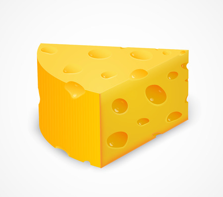 edibles: Piece of cheese isolated on white