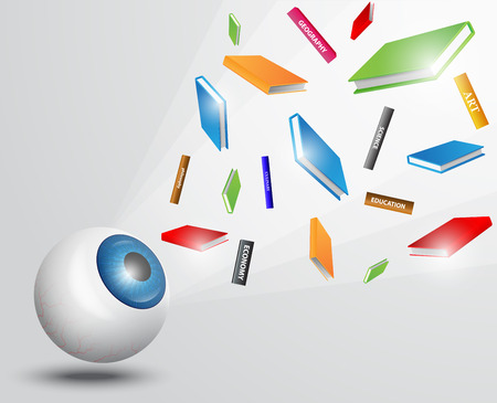 disappear: Eyeball with books. colorful books, flying books, vision concept, education concept, education idea Illustration