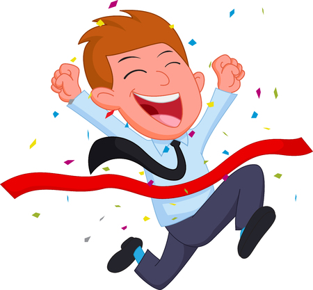 Happy Businessman cartoon running at the finish line