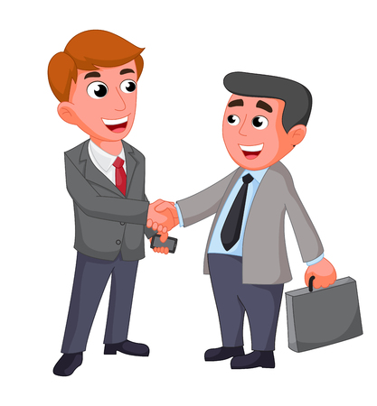 negotiating: Two businessman, shaking hands happy negotiating
