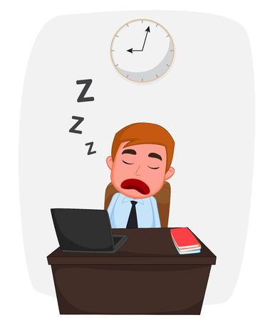 Businessman sleeping on work table cartoon