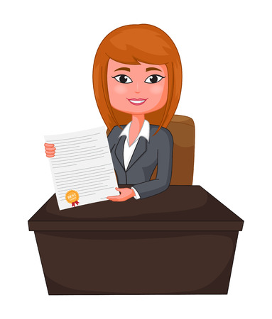 costumer: Business Woman Agent Giving a Presentation to costumer Illustration