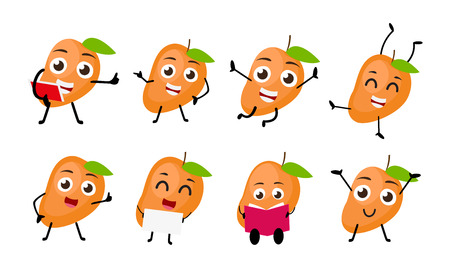 Mango fruits cartoon character Illustration