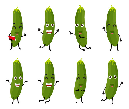 angry vegetable: Cucumber cartoon character Illustration