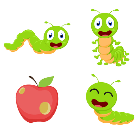 pupa: Cute Caterpillar cartoon cartoon collection set