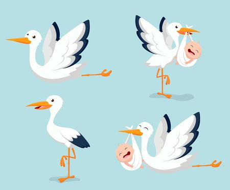 Cartoon Cute stork carrying baby Illustration