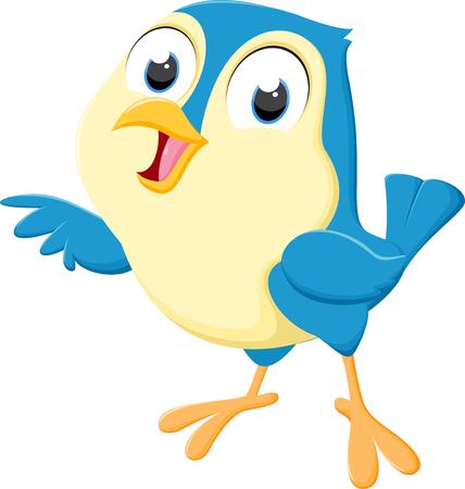귀여운 파란 새 만화