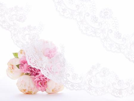 Lace curtain with A bouquet. Wedding invitation, lace veil textile. Archivio Fotografico