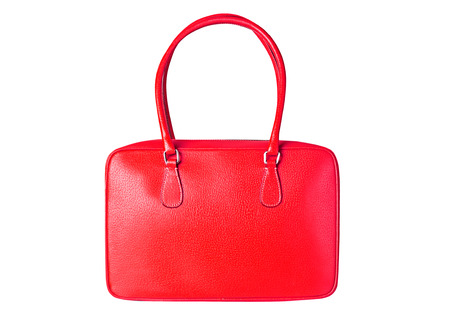 Beautiful red leather bag isolated on white background.