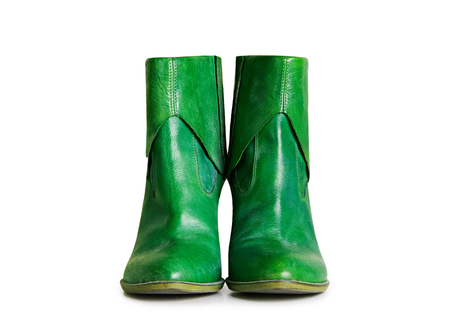 Green leather short boots isolated on white background  with clipping path. Standard-Bild