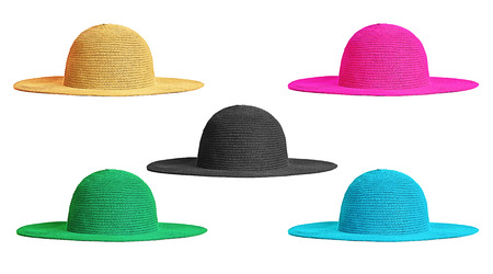 Colorful hats fashion items isolated on white background