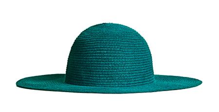 Dark green straw hat isolated on white background.