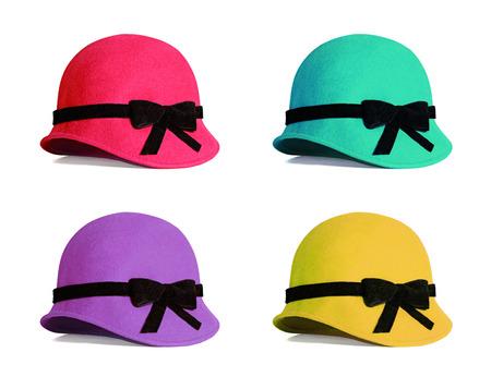 女性帽子コレクションは、白い背景で隔離。