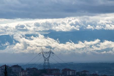 residental: Electric Pylon on Residental Area