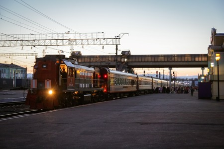 ulan ude: Ulan Ude, Mongolia - August 13, 2014: In Ulan Ude railway station, Russian train are entering to station. Editorial